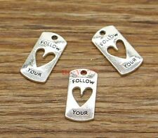 20 Follow Your Heart Charms Heart Love Word Charm Antique Silver Tone 10x20 2720