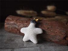 Pave Sea Star Coral Natural Gemstone White Gem Pendant Necklace