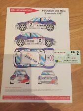 DECALS 1/43 PEUGEOT 306 MAXI KIT CAR PANIZZI RALLYE DU LIMOUSIN 1997 RALLY