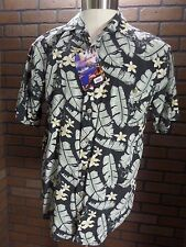 100% Silk Men's size M Hawaiian Casual Camp Shirt Black Gray Leaf Shaver Lake