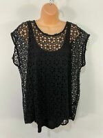 BNWT WOMENS NEXT UK 22 BLACK FLORAL CROCHET LACE OVERLAY BOW BACK SUMMER TOP