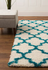 Soft & Plush Trellis Shag Rug White & Turquoise Carpet 5' x 7' 2""