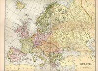 1880 Stampa ~ Mappa Di Europa