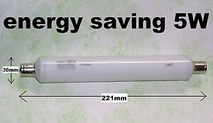 5W ENERGY SAVING CUPBOARD/PICTURE LIGHT BULB: 221mm warm white S15 strip lamp
