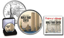 WTC 9/11 NY USA MINT COLORIZED QUARTER, CERTIFICATE AND IN VELVET BOX.