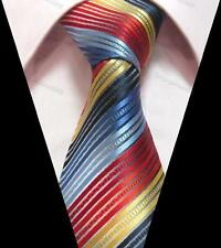 1 x quality mens jacquard silk tie rainbow red blue wedding birthday business