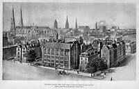 COLUMBIA COLLEGE UNIVERSITY NEW YORK BIRD'S EYE VIEW 1894 HISTORY ARCHITECTURE