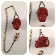 agate skull pocket watch chain Edwardian styled vintage memento mori