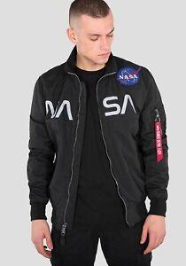 Alpha Industries NASA Jacket Men's Black White Full Zip Activewear Outwear