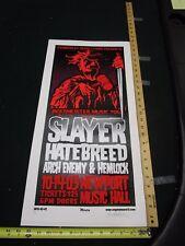 2001 Rock Roll Concert Poster Slayer Hatebreed Mike Martin S/N# 106