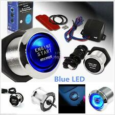 Car Suv Keyless Engine Ignition Power Switch Blue Led Light Starter Push Button