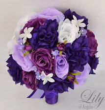 17 Piece Package Silk Flower Wedding Bridal Bouquets PLUM PURPLE LAVENDER WHITE