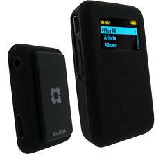 Silicone Skin Case for Sandisk Sansa Clip Plus+ MP3 Player Black Cover Holder