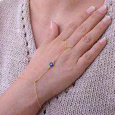 Stunning Boho Evil Eye Bangle Slave Chain Link Finger Ring Hand Harness Bracelet