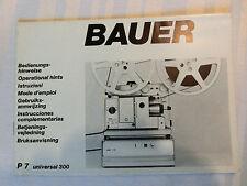 Mode d'emploi utilisation INSTRUCTIONS Bauer p7 Universal 300 projecteur