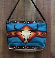 Purse, Heavy Cotton With Colorful Aztec Design With Skull Cotton Straps Teal