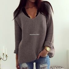 Winter Women Vintage Long Sleeve Loose Warm Pullover Jumper Knit Sweater N4U8