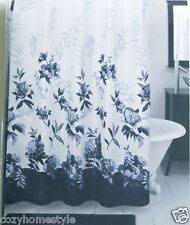 BLUE FLORAL MOONLIT GARDEN LUXURY FABRIC SHOWER CURTAIN BY LENOX #14