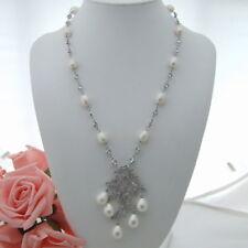 "22"" White Rice Pearl Necklace Sea Shell CZ Pendant"