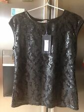 M & S Limited Edition Black Sequin Top With PU Leather Trims Size UK 8, BNWT