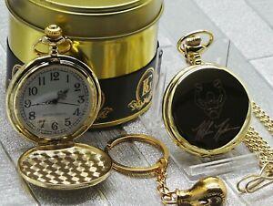 MIKE TYSON Signed 24k Gold Clad Pocket Watch Boxing Glove Keyring Gift Set Case