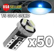 50X Ice Blue T5 3-SMD Led Instrument Panel Dash Interior Light Bulbs 17 18 73 74
