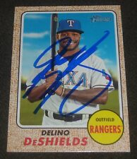 DELINO DESHIELDS SIGNED 2017 TOPPS HERITAGE CARD #648 TEXAS RANGERS AUTO