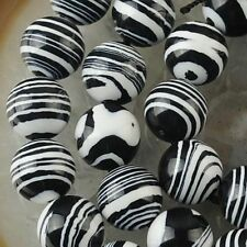 6mm Black White Striped Turquoise Gemstone Loose Bead 15''