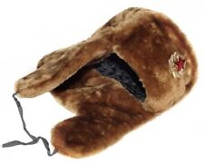 Authentic Russian Military Camel Brown Ushanka Hat Soviet Army Badge Size 60cm L