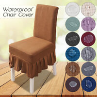 Plaid Stretch Dining Chair Covers Slipcovers Thick w/Chair Cover Skirt 12 COLORS