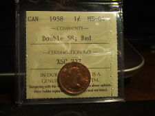 CANADA ONE CENT 1958 DOUBLE 58 ICCS MS-64 !!!! Full Red!