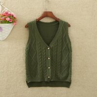 Women Knitted Cardigan Waistcoat Top Vest Sleeveless Pullover Jumper Button Grey