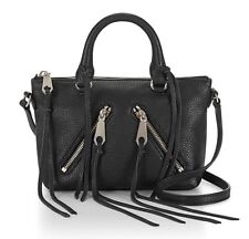 NWT $195 REBECCA MINKOFF LEATHER BLACK MICRO MOTO SATCHEL CROSSBODY SHOULDER BAG