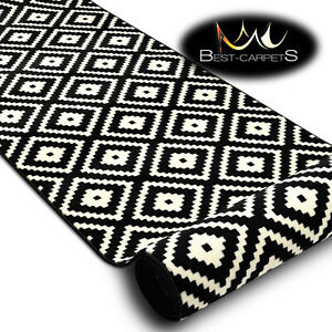 Modern Hall Carpet Runner BCF BASE RUTA Diamonds black 60-120cm extra long RUGS
