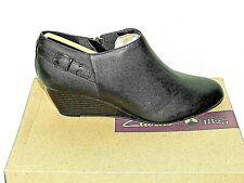 Clarks BRIELLE Hip Black Leather Zip up Wedge Shoe BOOTS UK Size 7d Eu41.