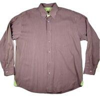 Bugatchi Uomo Striped Dress Shirt Mens XL Purple Green Long Sleeve Button Down
