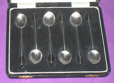 ART DECO 1926 COFFEE BEAN SOLID STERLING SILVER CASED 6 COFFEE SPOONS ANTIQUE