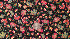 "QUILT FABRIC ~ BLACK PINK RED FLORAL FLOWERS Cotton 42.5"" Wide 1.75 yd"