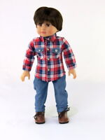 """Red And Blue Plaid Shirt Jean Set Fits 18"""" American Boy or Girl Doll Clothes"""