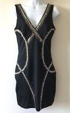 Bebe Sz M Medium Black Studded Sequin Silver Bodycon Dress
