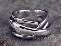 Silberring Gewickelt Breit Glatt Schlicht Durchbrochen Ring Silber 925