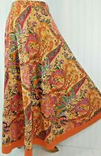 Coldwater Creek India Cotton Paisley Sequined Skirt Full Twirl Long Multi Small