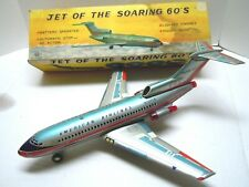 1960 Japan Marx Tin Battery Op Jet Of The Roaring 60's Airplane w/BOX .A+.WORKS