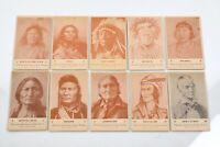 Antique Postcards Set Famous Native American Chiefs 1941 Rare 10 set
