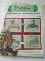 70's Paragon Stamped Cross Stitch Kit PAIR OF ANTIQUE CAR PICTURES  #0664