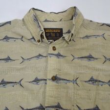 Mens Large Woolrich All over print Swordfish Marlin Short sleeve bttn frnt shirt