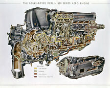 A3 Print - Detailed View of The Rolls-Royce Merlin 620 Series Aero Engine