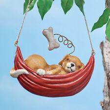 Sleeping Dog Hanging Garden Statue - Dreaming Dog In Hammock - Dog Love