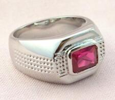 Ruby simulated cz mens dot matrix 18k white gold overlay size 12