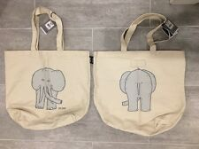 JACK SPADE Elephant Tote Natural Canvas Bag 2-sided NWT